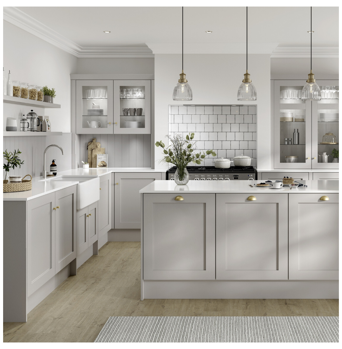 white and grey kitchen rustic