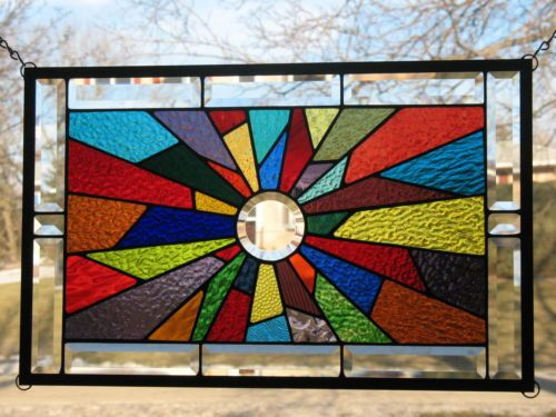 Ebay Stained Glass Panels.Starburst 40 Color Stained Glass Window Panel Ebay