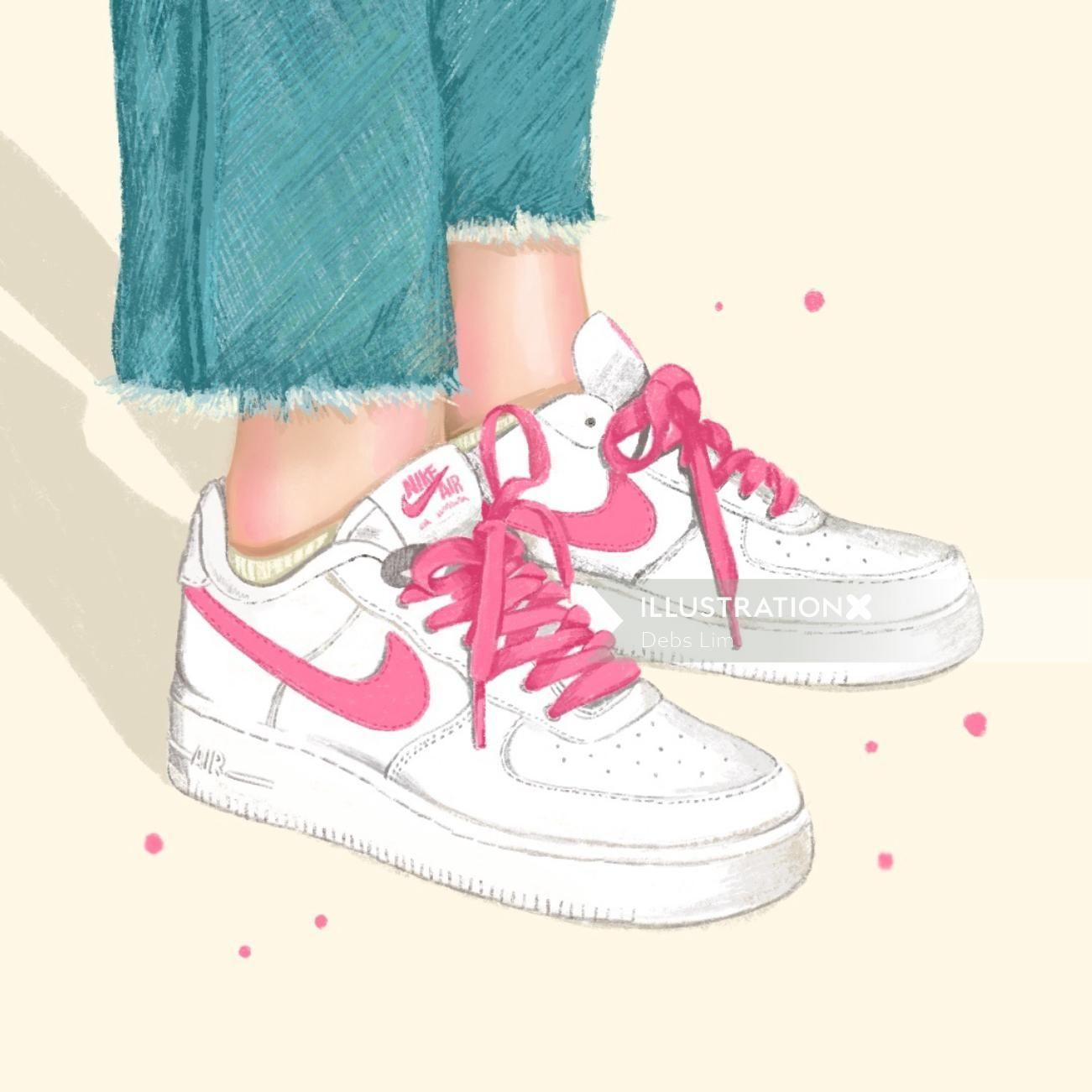 Nike Sneaker Cartoon Illustration