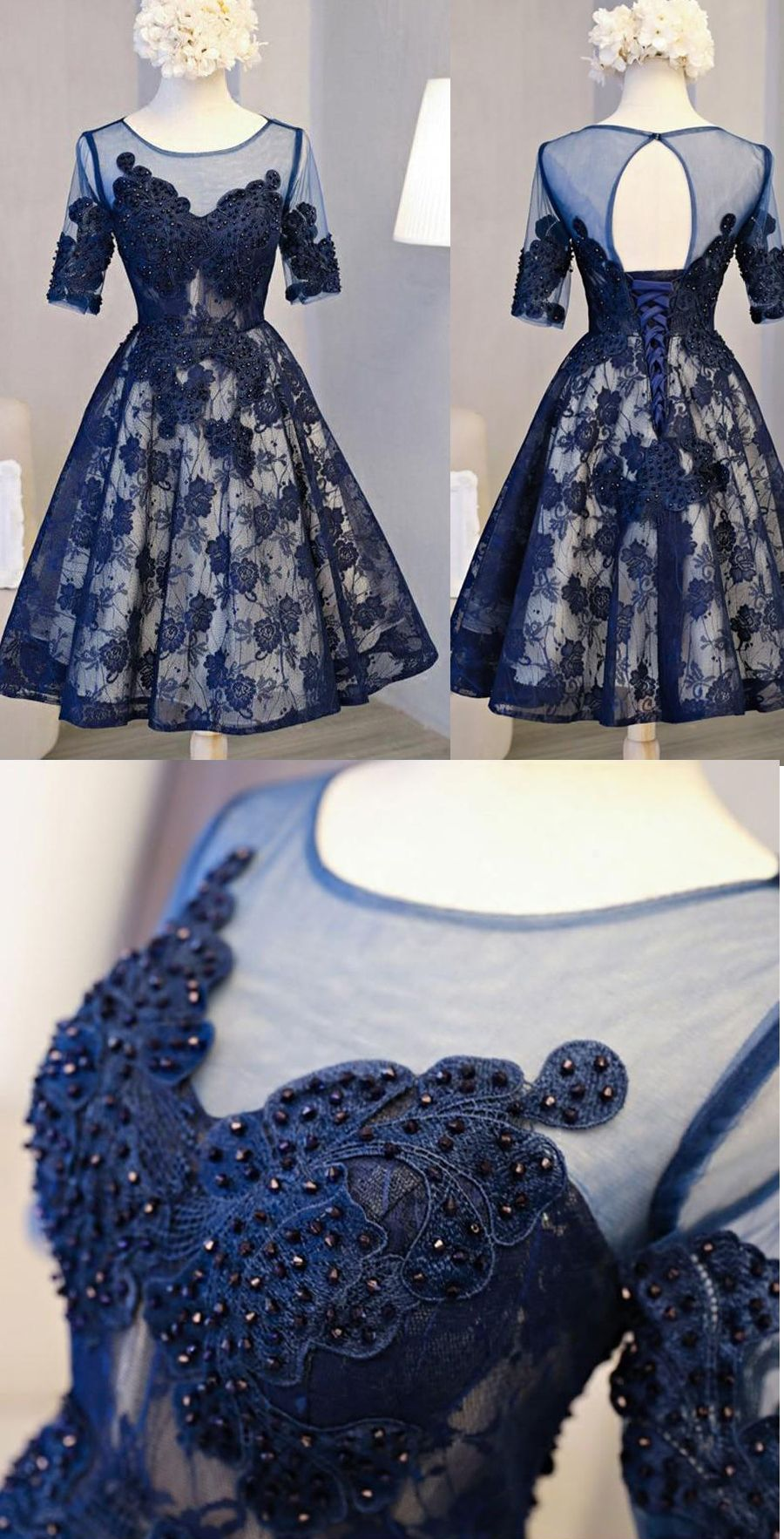 Chic navy blue lace homecoming dresses short sleeves knee length