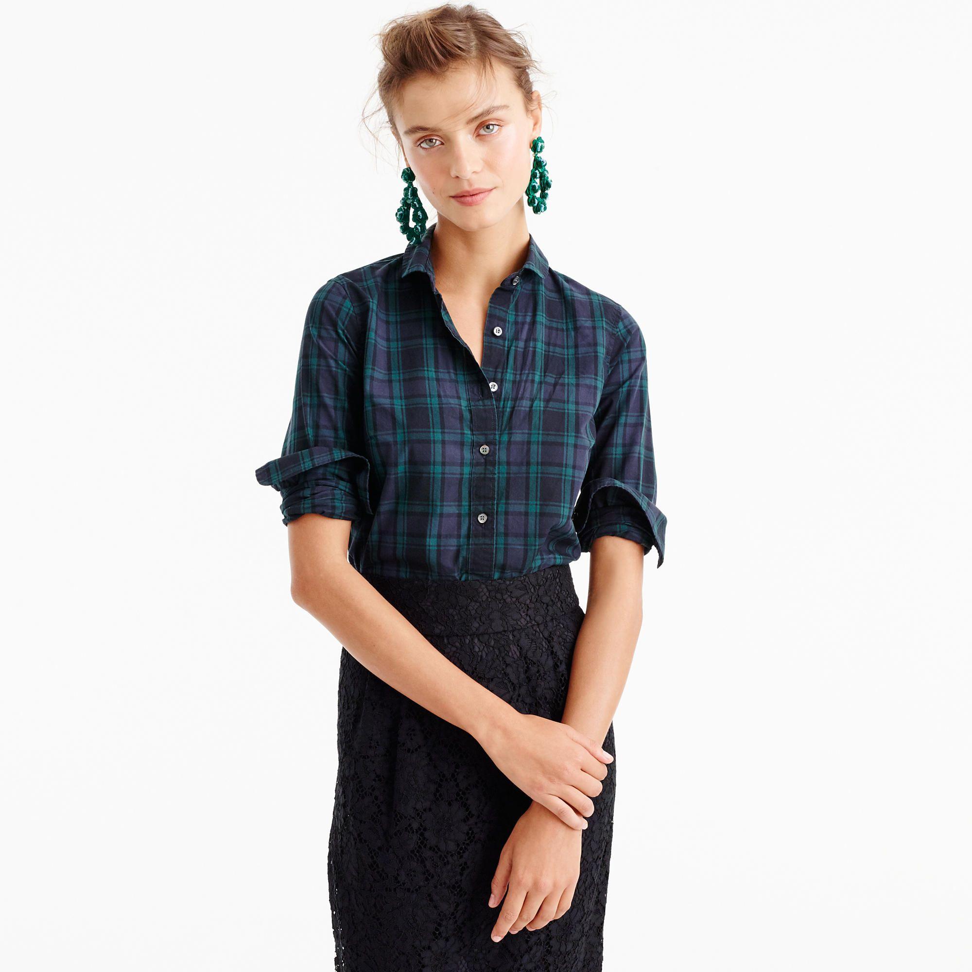 b19aa2ec974202 Club-Collar Perfect Shirt In Black Watch Plaid   Women s Shirts