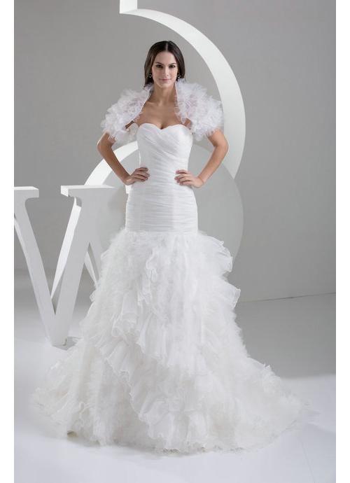 Cool Style Sweetheart Sweep Train Organza Wedding Dress with Boldro ...