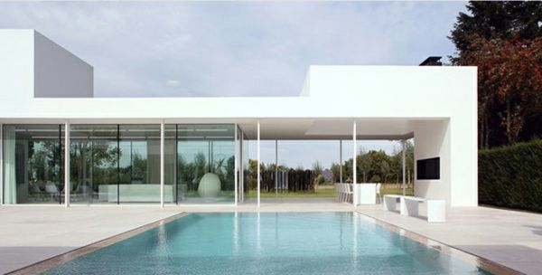 101 Bilder Von Pool Im Garten - Offen Raum Glas Wand Pool Weiß ... Pool Mit Glaswand Garten