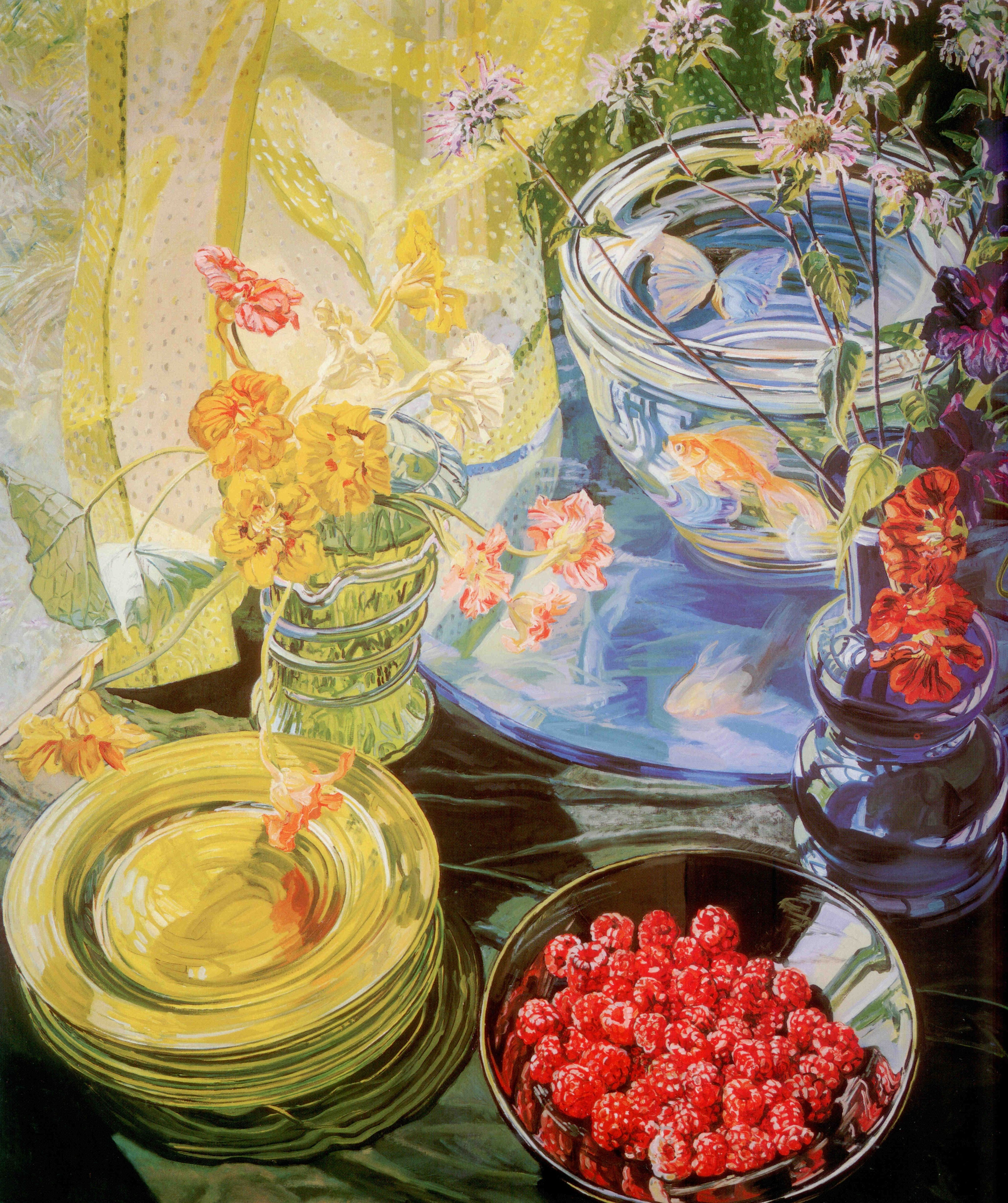 Janet Fish Raspberries Nasturtiums And Goldfish 1981 Oil On Canvas 72 X 64 Detail Art Fish Painting Painting