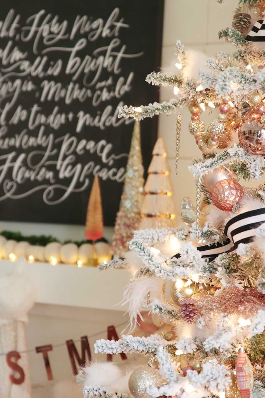 Rose Gold Christmas Mantel A Modern Farmhouse Holiday Rose Gold Christmas Tree Rose Gold Christmas Gold Christmas