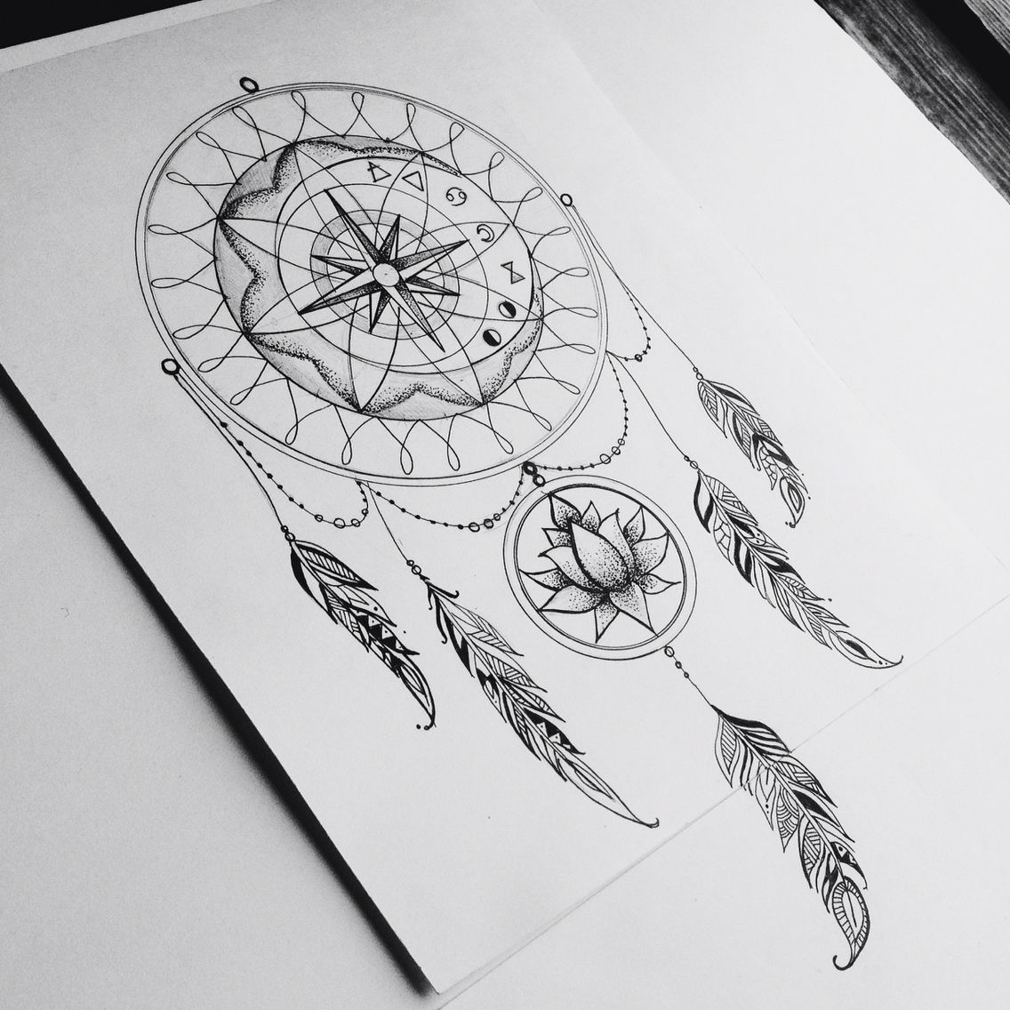 Traumfà Nger Tattoo: Image Result For Dream Catcher Compass Tattoo