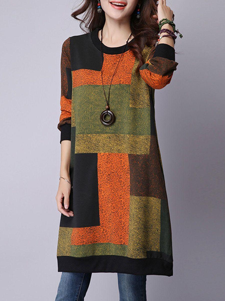 Plus size women orange shift daily long sleeve casual pockets dress