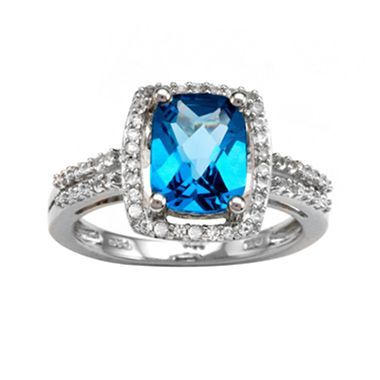 Blue Topaz, Lab-Created White Sapphire Beutiful Ring
