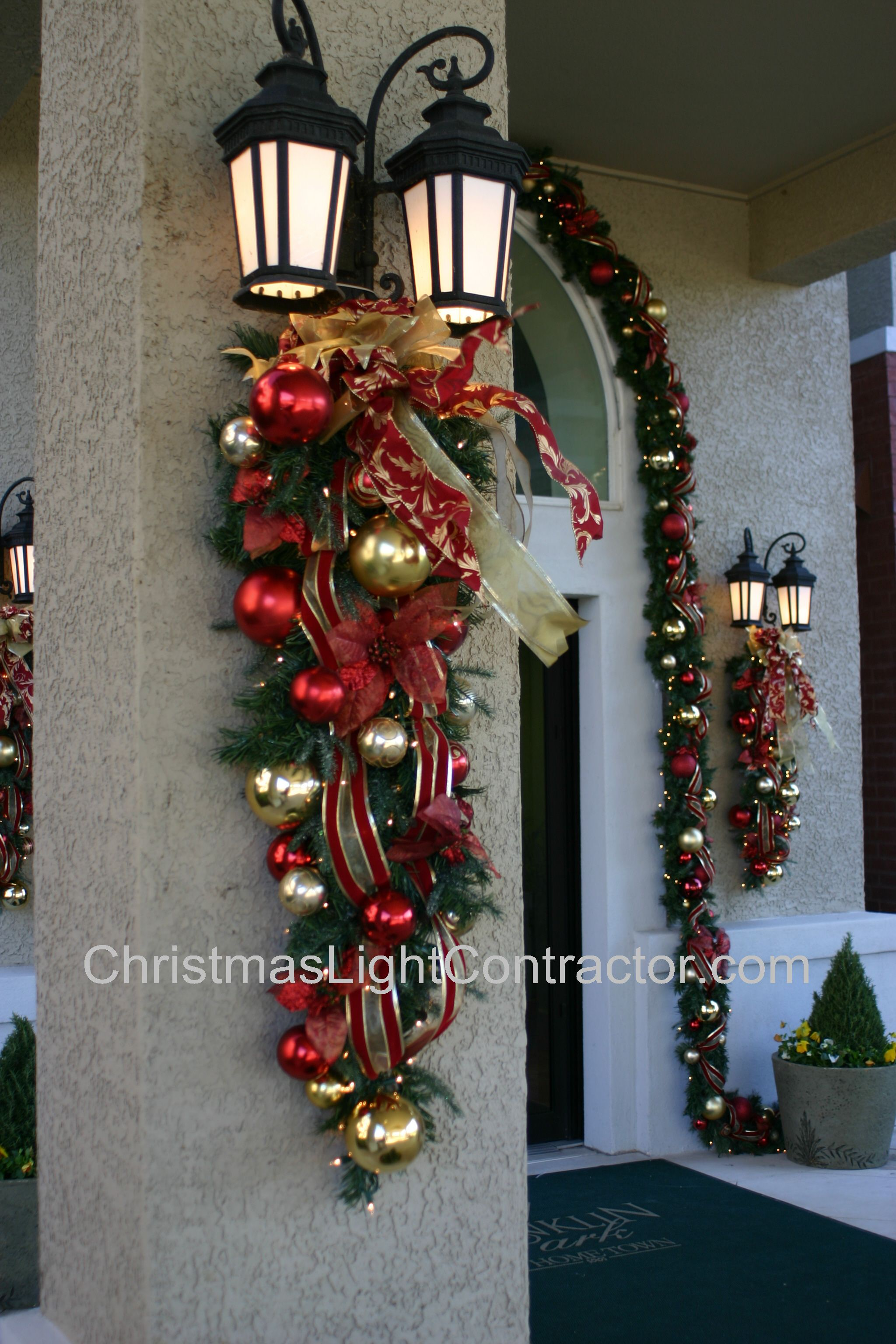 Floral wreaths and swags custom christmas originals made Outdoor christmas garland ideas