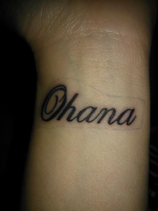 My Wrist Tattoo Ohana Means Family And Family Means No One Ever