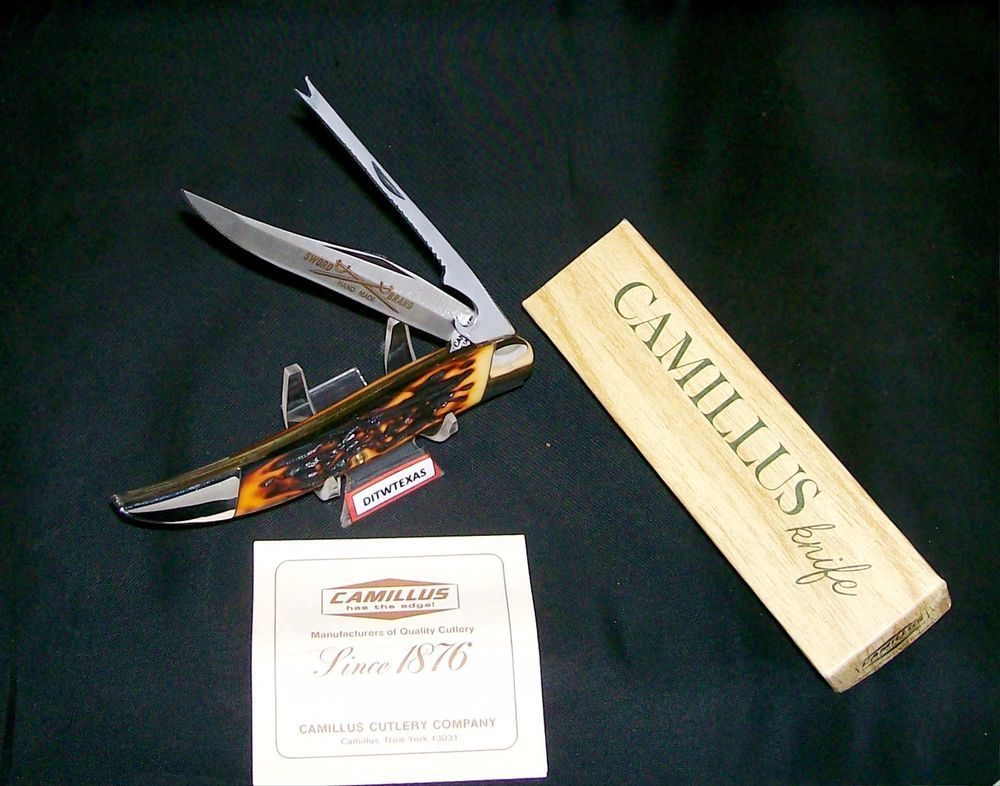 Camillus 31 Knife Indian Stag 1973 Usa Sword Brand