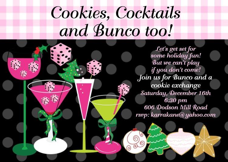bunco gift Bunco Cookie Swap Party Invitation Printable Digital
