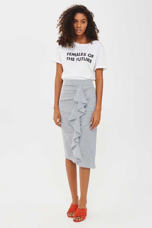 242f8512b6ee Stripe Ruffle Midi Skirt in 2019