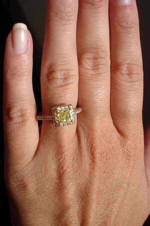 Gold Engagement Ring On Hand 53