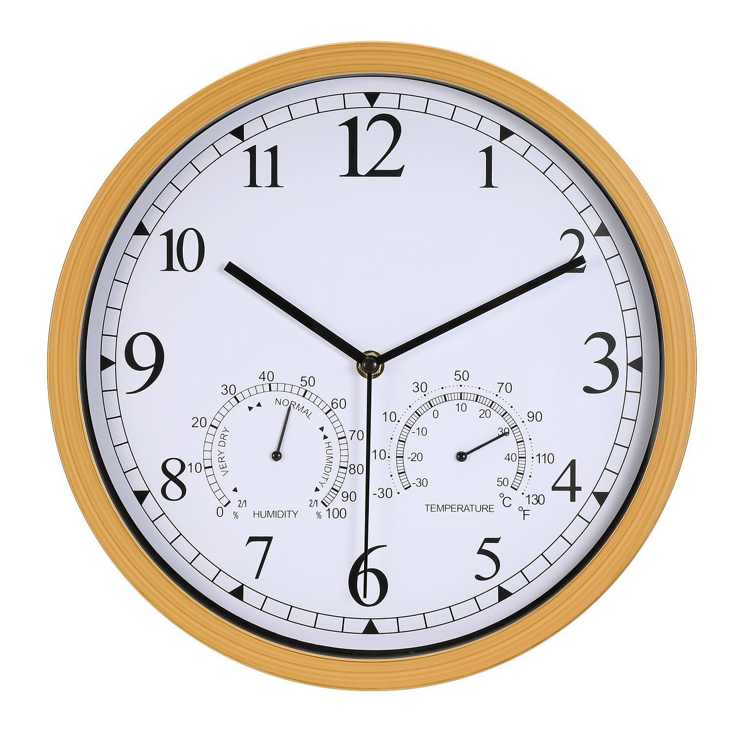 Genbaly 12 Inch Indoor Outdoor Modern Wall Clock With Temperature Amp Humidity Silent Non T Wall Clock Modern Living Room Drapes Wall Clock With Temperature