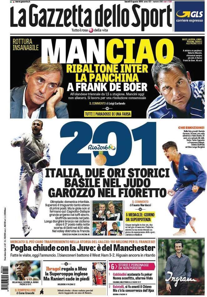 Prima Pagina La Gazzetta dello Sport 08/08/2016