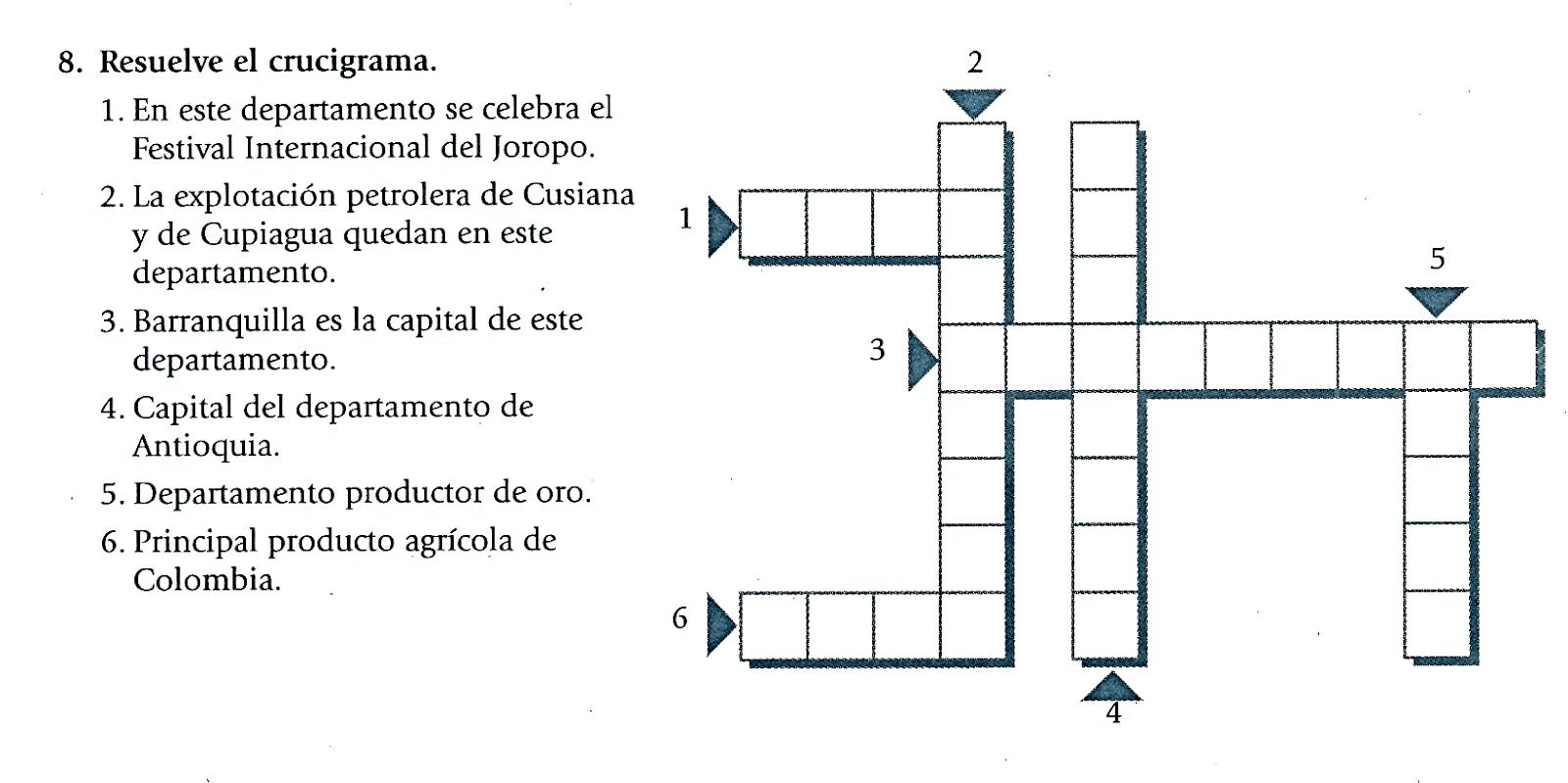 Colegio Técnico Nuestra Señora De La Presentación San Gi Santander Formación Integral Del Estudiante Código Erl Spc35 Ve Ciencias Sociales Joropo Crucigramas