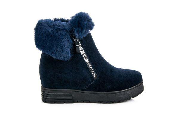 Zamszowe Botki Na Koturnie Niebieskie Boots Ugg Boots Winter Boot