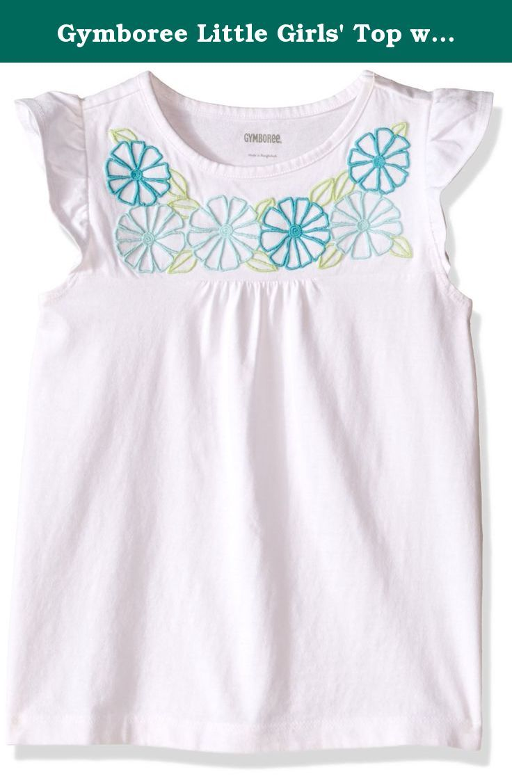 Gymboree Little Girls Top With Flower Embroidered Neck White 4