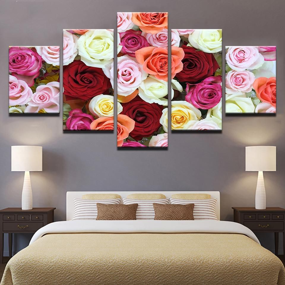 ROSE PINK FLORAL CANVAS PICTURE PRINT WALL ART HOME DECOR FREE FAST DELIVERY