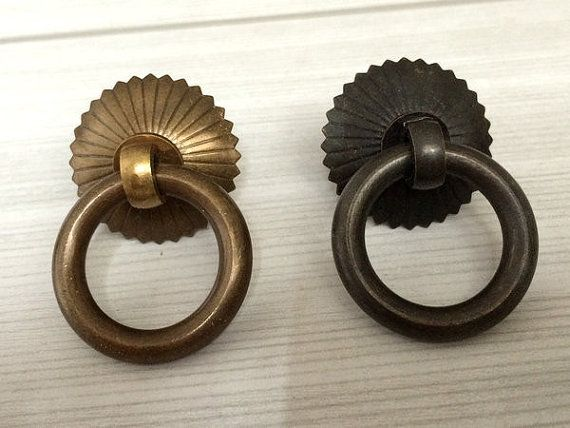 Small Drop Ring Pulls Dresser Pull Knobs Copper Drawer