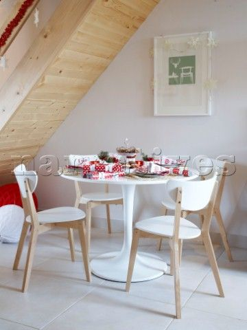 Contemporary Christmas Dining Table Under Stairs In Polish Family Home