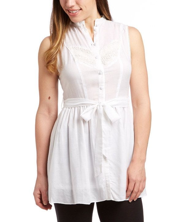 Look at this Janet Paris White Tie-Waist Tunic on #zulily today!