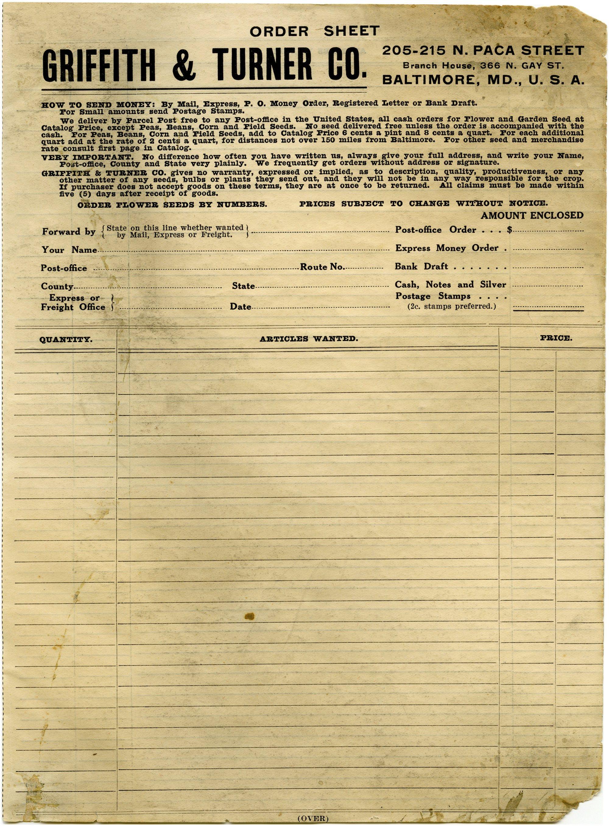 Free Vintage Printable Aged Grunge Catalog Order Form  Ephemera