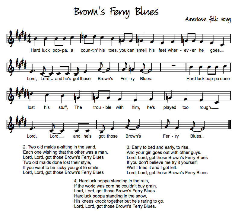 Lyric blues songs lyrics : Brown's Ferry Blues | 12 Bar Blues & I-IV-V Chords | Pinterest