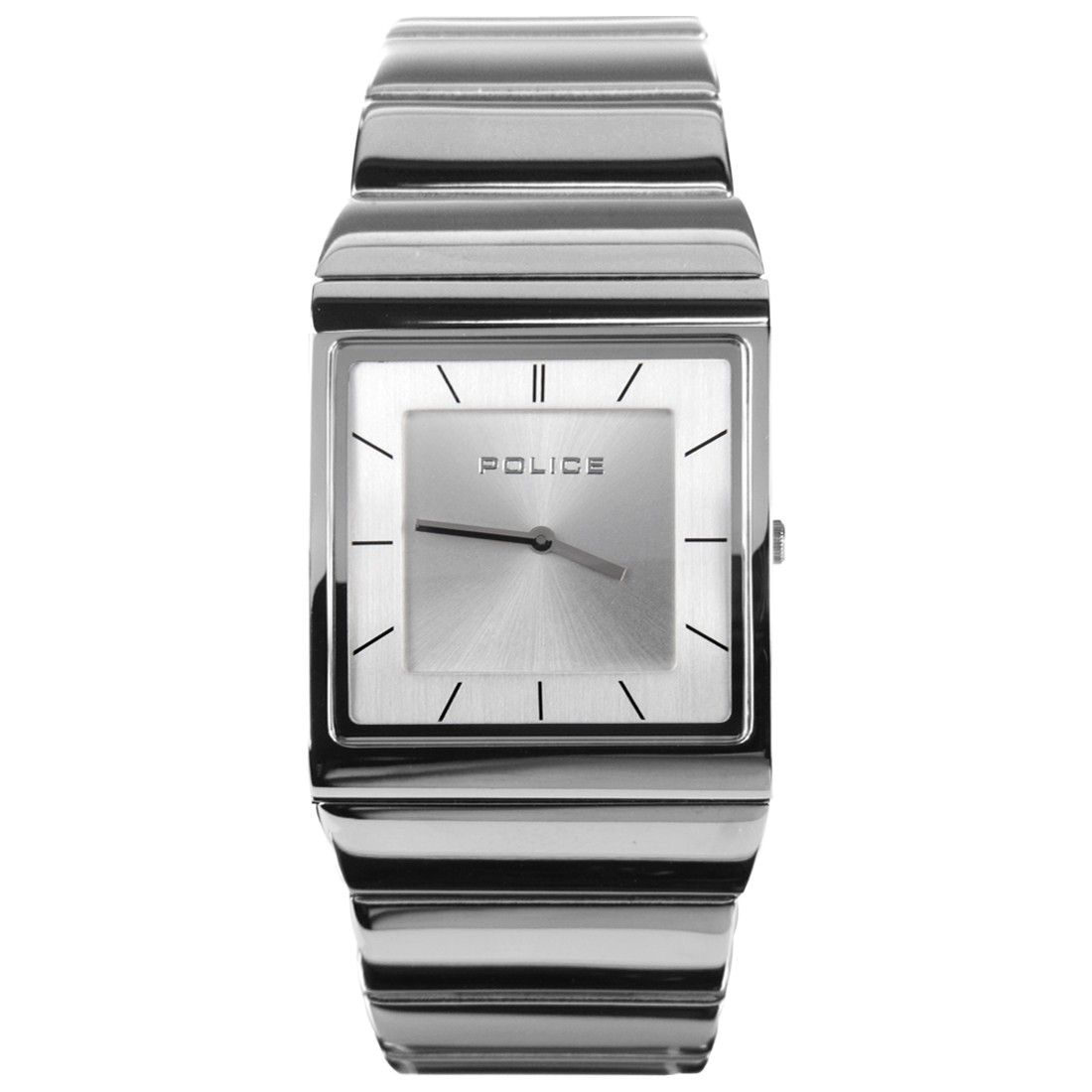 Police Black Leather Silver Dial Mens Square Watch PL13678US 04 ... 548e2b8c44a