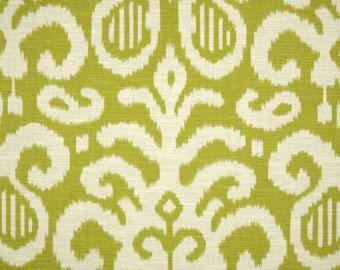 Fabric By The Yard Green Ikat Fabric Ikat Fabric Green Fabric Suburban Home  Fergana Ikat Lime
