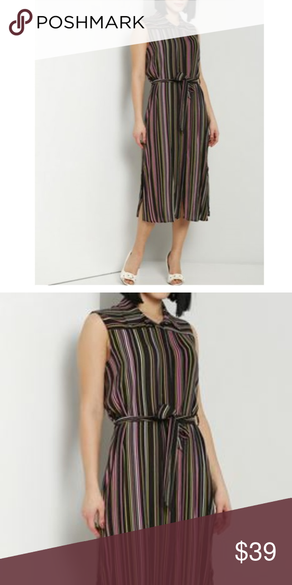 Esther striped sleeveless midi shirt dress brand new with tags made