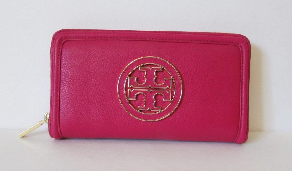 f6116e06c9bd Tory Burch Amanda Zip continental wallet Carnation Pink tumbled leather  logo red  fashion  clothing  shoes  accessories  womensaccessories  wallets  (ebay ...
