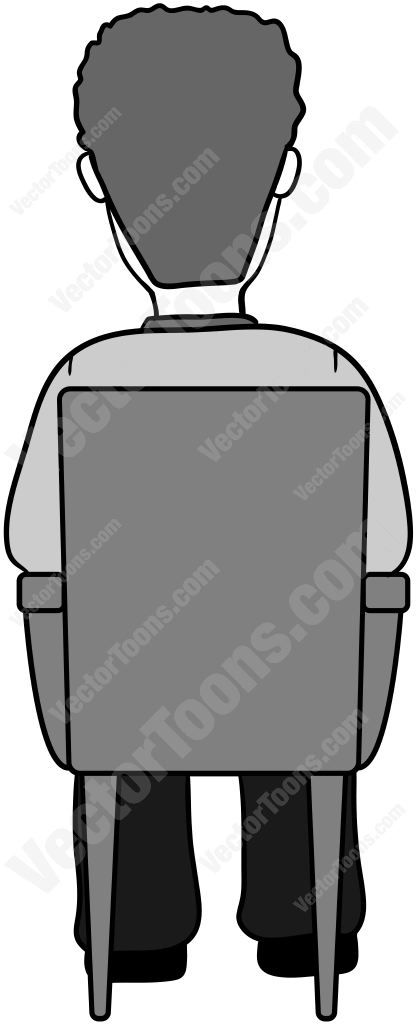 Back View Of A Man In A Chair Cartoon Clip Art Man Vector Illustration