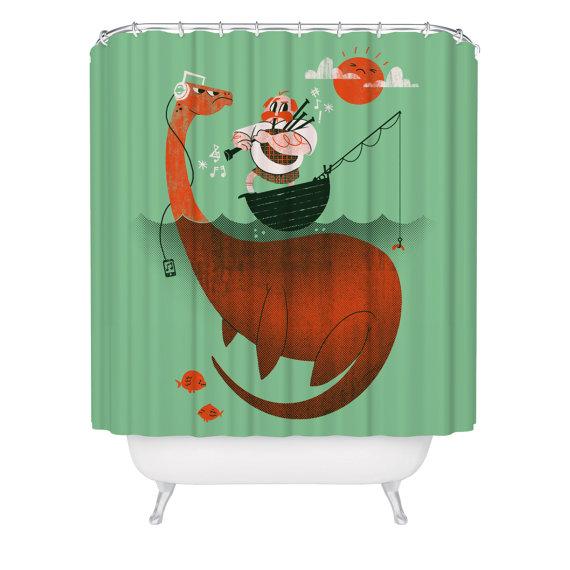 Tarvisinkohan Ma Uuden Suihkuverhon Loch Ness Monster Funny Shower Curtains Scottish Decor Green