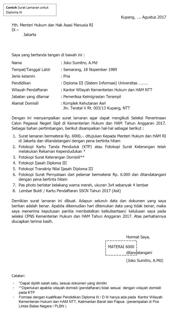 Contoh Surat Cpns