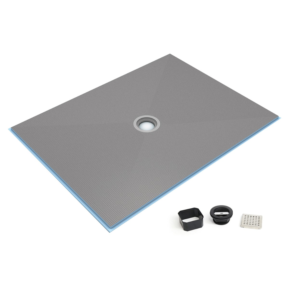 Wedi Fundo Ligno Curbless Shower Base With Center Drain Shower