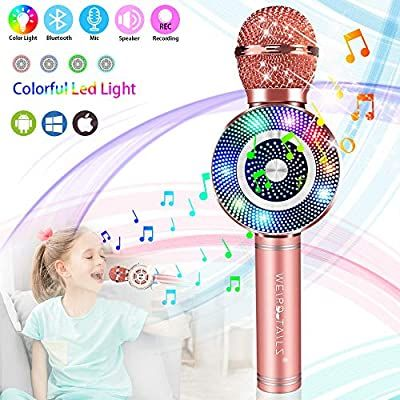 weird tails Wireless Karaoke Microphone, Handheld Bluetooth Microphone with Speaker and Light Echo Mic Portable Karaoke Player for Kid Adult Girl Home Party Singing Birthday Gift