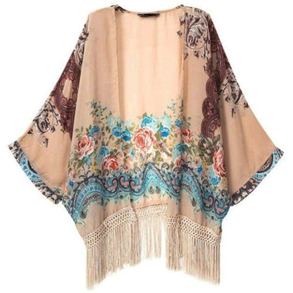 Vintage Retro Women Ethnic Floral Tassels Loose Kimono Cardigan Jacket... (20 CAD) ❤ liked on Polyvore featuring outerwear, jackets, kimono, tops, cardigans, vintage jacket, vintage floral jacket, vintage kimono jacket, floral jacket and loose jacket
