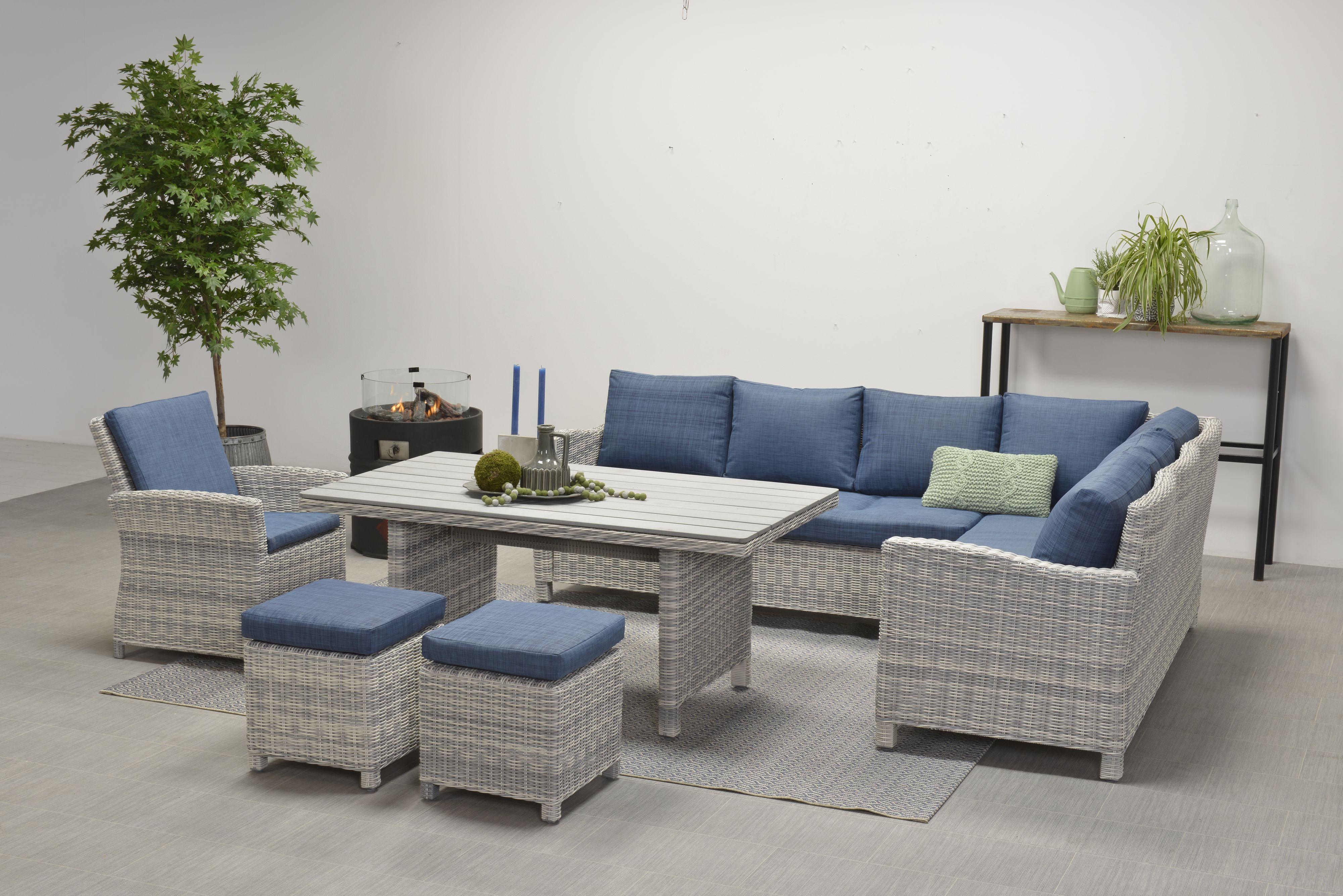 Lounge Bank Eettafel.Norma Lounge Dining Set 5 Delig Rechts Licht Grijs Blauw