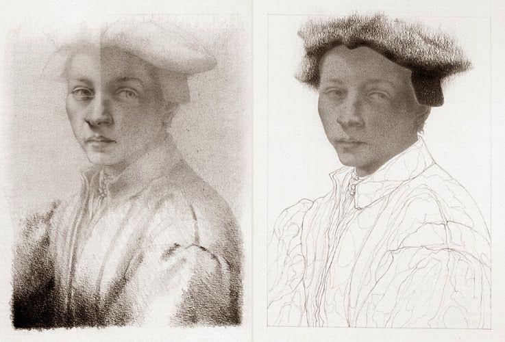 Amador Perez - 2000 / série Espectros / grafite / D310105 / díptico (14 x 10cm, cada prancha) baseado em Retrato de Andrea Quaratesi, de Michelangelo