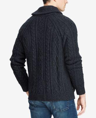 Polo Ralph Lauren Men s Cable-Knit Cardigan Sweater - Dark Charcoal Heather  M d48d393854c