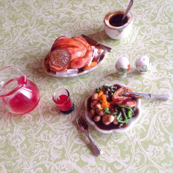 Roast Chicken Dinner Dolls House Set by Tuckshop on Etsy