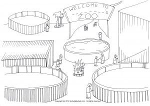 Empty Zoo Cage Coloring Page Zoo Animals For Kids Zoo Drawing