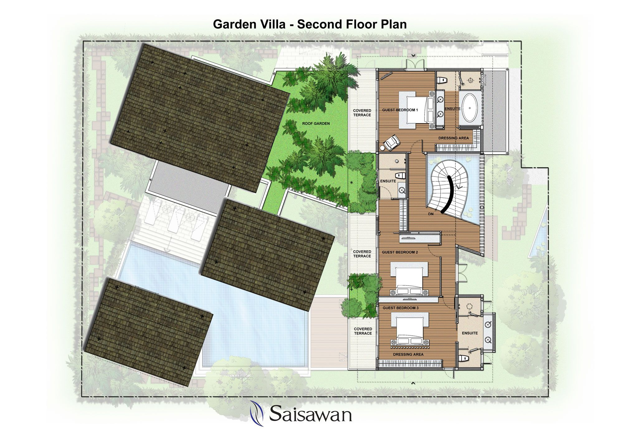 Saisawan Garden Villas Second Floor Plan Floor Plans Garden Villa House Plans