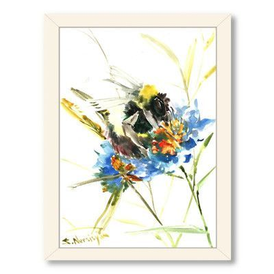 Americanflat Flower Bee by Suren Nersisyan Painting Print on Canvas