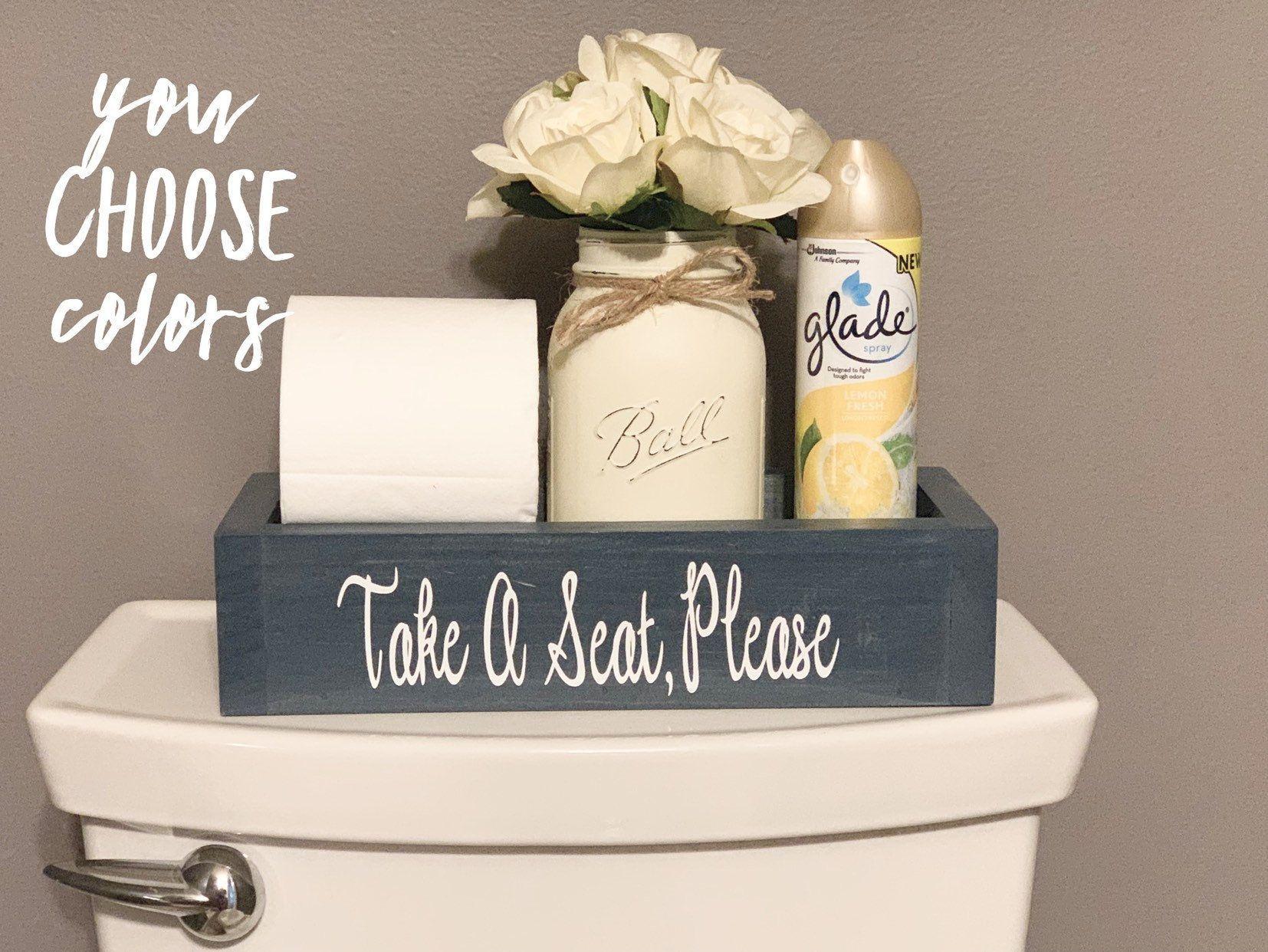 Take A Seat Bathroom Decor Take A Seat Bathroom Box Bathroom Decor Bathroom Humor Bathroom In 2020 Bathroom Counter Decor Restroom Decor Bathroom Box