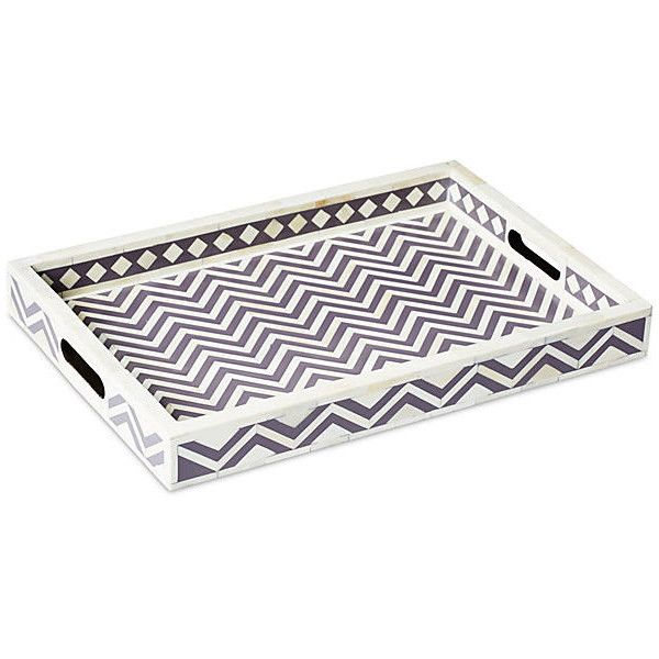 "White Decorative Tray Brilliant 19"" Chevron Bone Tray Decorative Trays 265 Cad ❤ Liked On Design Decoration"