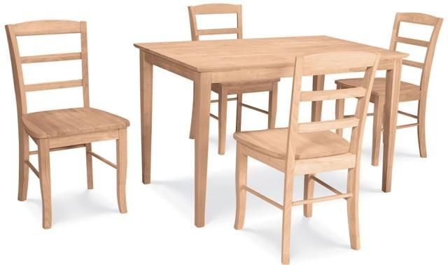 5 Pc Madrid Shaker Dining Set Unfinished Dining Chairs Dining