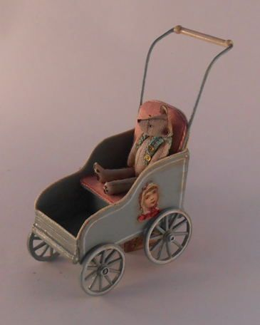 Teddy Bear in Stroller by Gale Elena Bantock #miniaturetoys